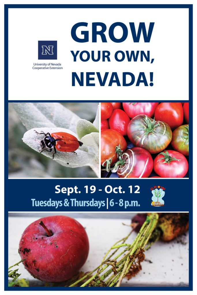 Program Flyer: Grow Your Own, Nevada! Sept. 19 - Oct. 12, Tuesdays & Thursdays, 6-8 p.m.