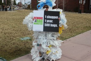 Have you ever wondered how many plastic bags an average shopper goes through in a year? 500. The Bag Monster (Associate Professor in the University's Department of Natural Resources and Environmental Science Nancy Markee pictured here from last year) will be strolling through the Gateway Plaza and nearby campus buildings on Thursday, April 18. More photos available from the 2012 Earth Week activities. Photos courtesy of the University of Nevada, Reno.