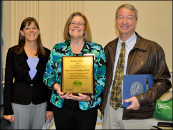 Sue receiving the Wendell McCurry Excellence in Water Quality Award from NDEP's Colleen Cripps and Dave Gaskin. Photo by Mary Kay Wagner.