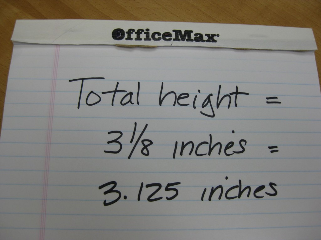 We measured a height of 3 1/8 inches. 1/8 inch=0.125 inch, so we have a total of 3.125 inches of water.