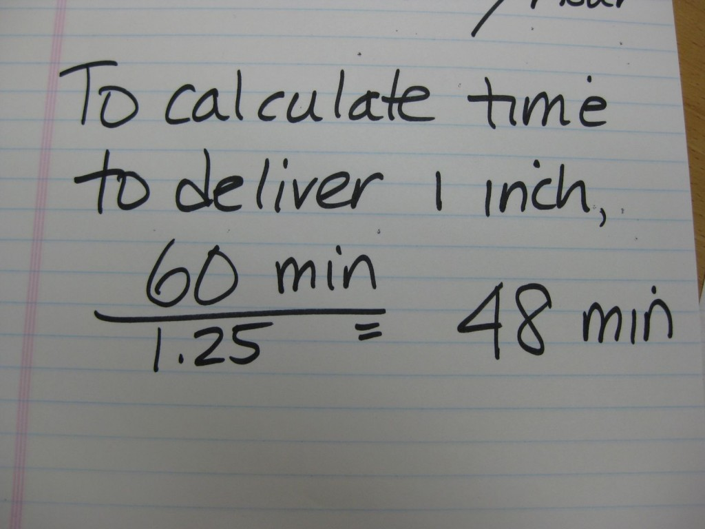If you'd like to know how long to run your system to apply an inch of water, divide 60 minutes (an hour) by the rate (1.25). To apply one inch per water, we would have to run our system for 48 minutes.
