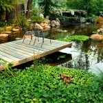 garden pond with deck and chairs