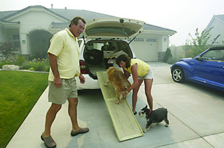 During evacuation, plan to take your pets with you, and do not turn them loose. Photograph courtesy of the Nevada Appeal. Cathleen Allison/Nevada Appeal.