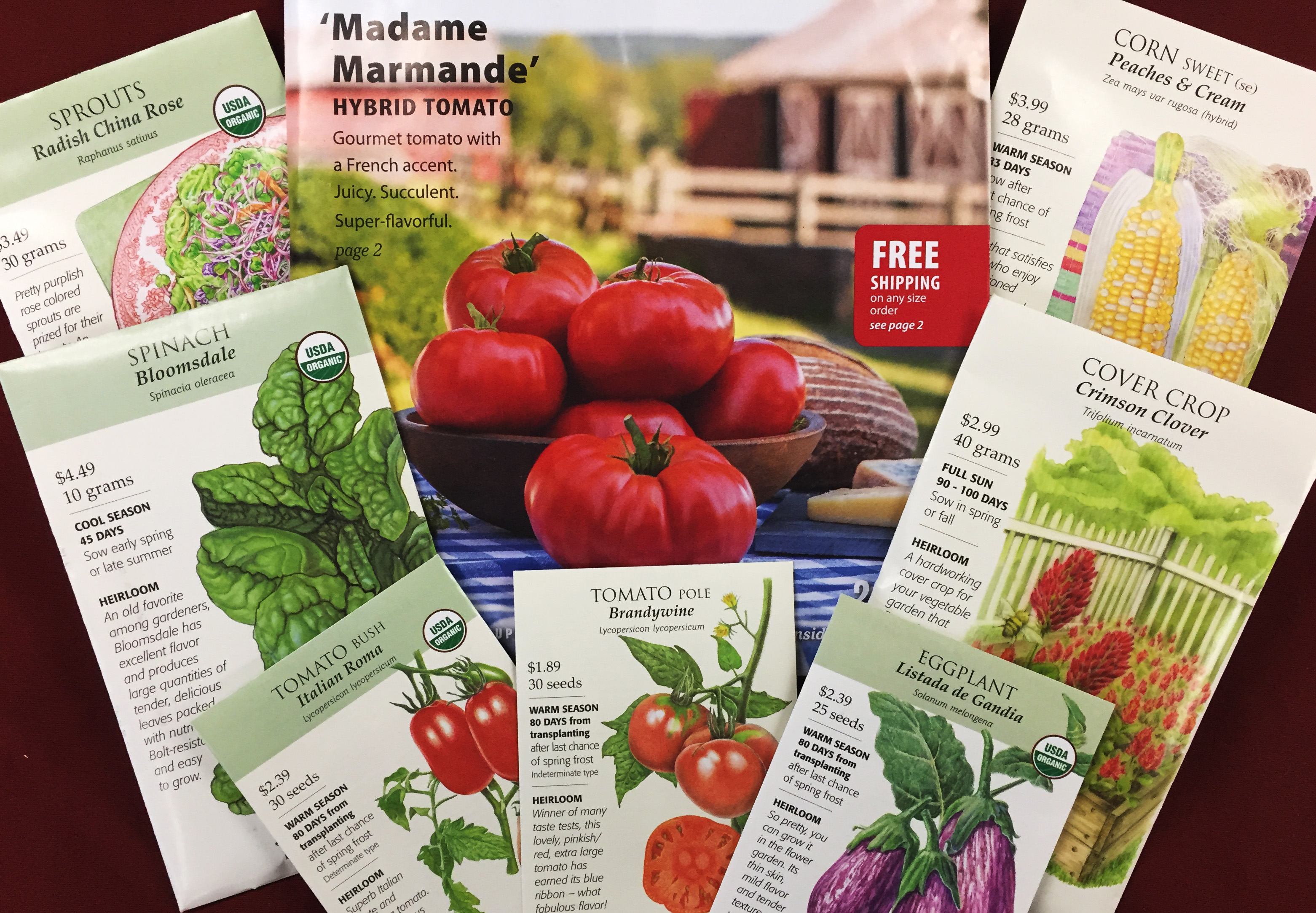 seed packets of varying sizes and plant species