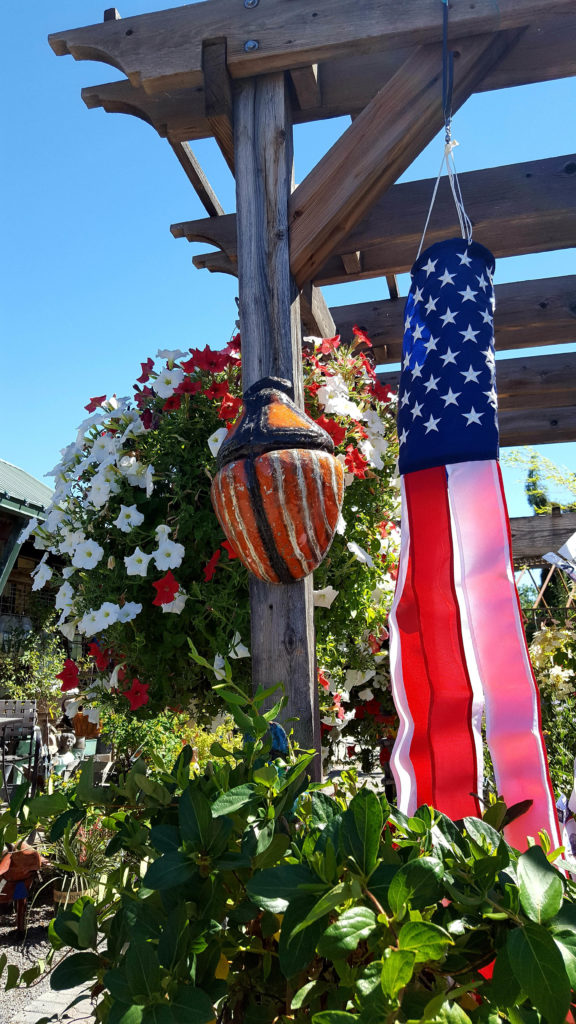 home with 4th of July decorations and flowers